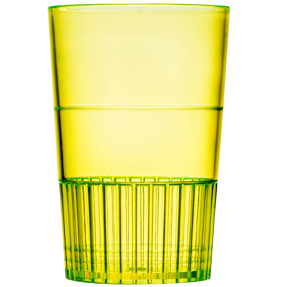 Fineline Quenchers 4115-Y 1.5 oz. Neon Yellow Hard Plastic Shooter Glass 10 / Pack