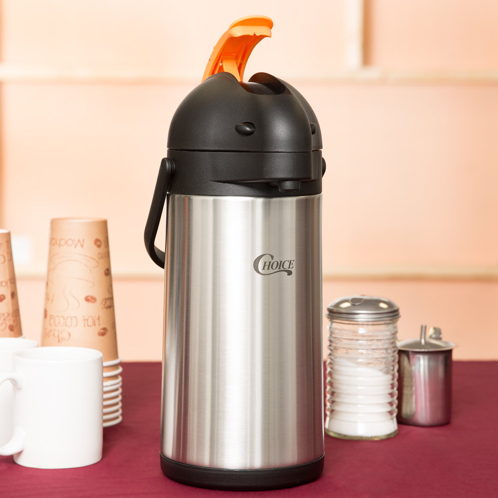 Choice 2.5 Liter Stainless Steel Lined Airpot with Orange Decaf Lever