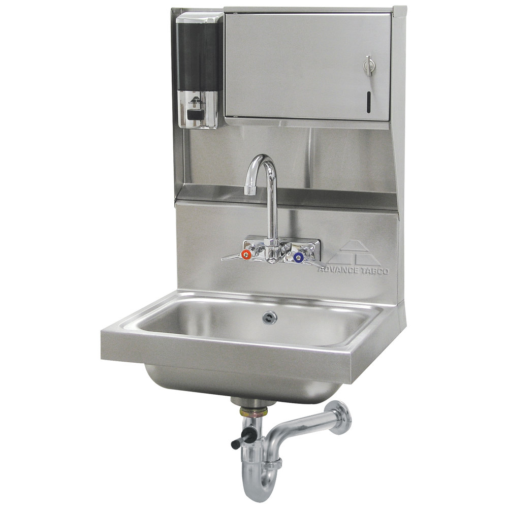 Advance Tabco 7 Ps 80 Hand Sink With Towel And Soap Dispenser 17 1 4 X 15