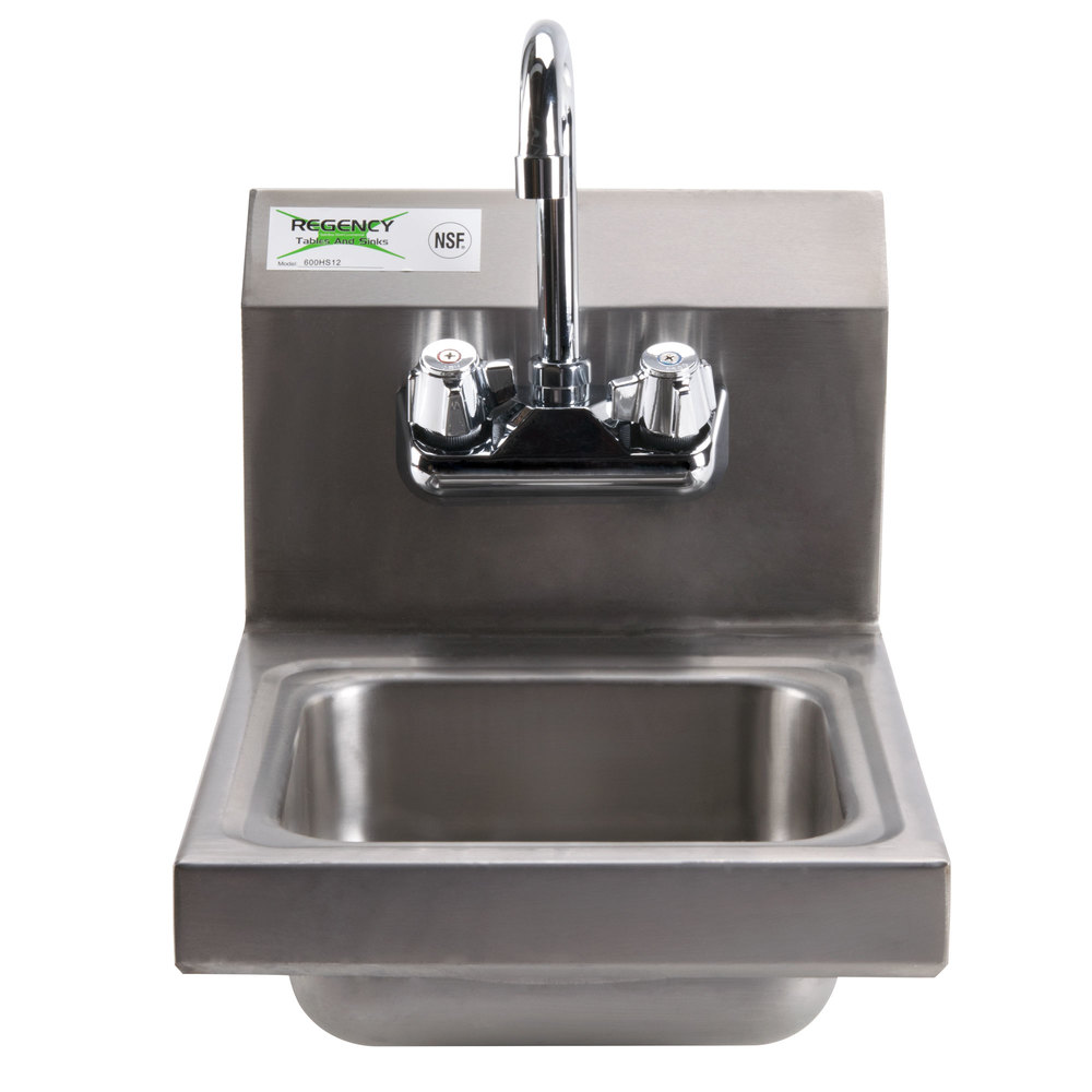 Regency 12 Quot X 16 Quot Wall Mounted Hand Sink With Gooseneck Faucet