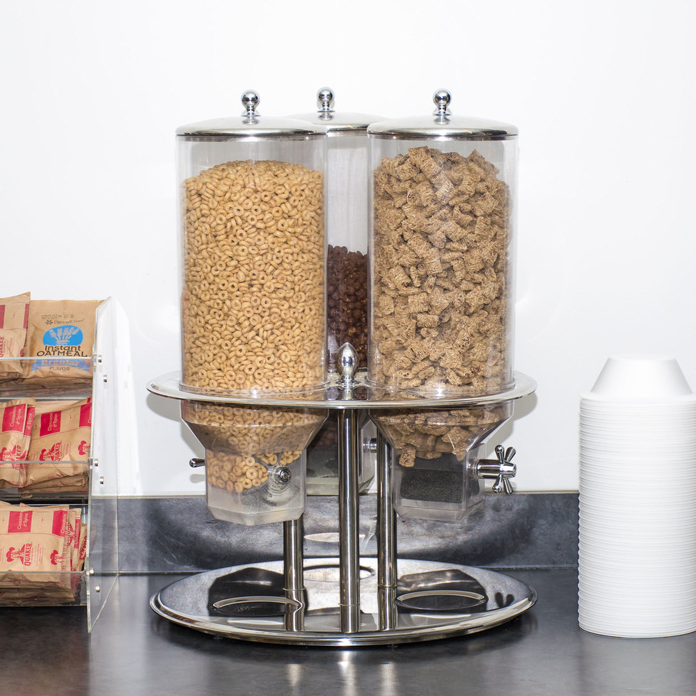 Tablecraft 693 Stainless Steel 50 oz. Triple Cereal Dispenser