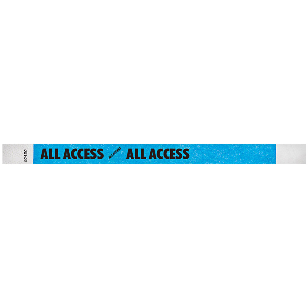 Carnival King Neon Blue ALL ACCESS Disposable Tyvek® Wristband 3/4 inch x 10 inch - 500/Bag