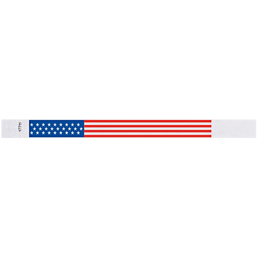 Carnival King Patriotic Disposable Tyvek® Wristband 3/4 inch x 10 inch - 500/Bag