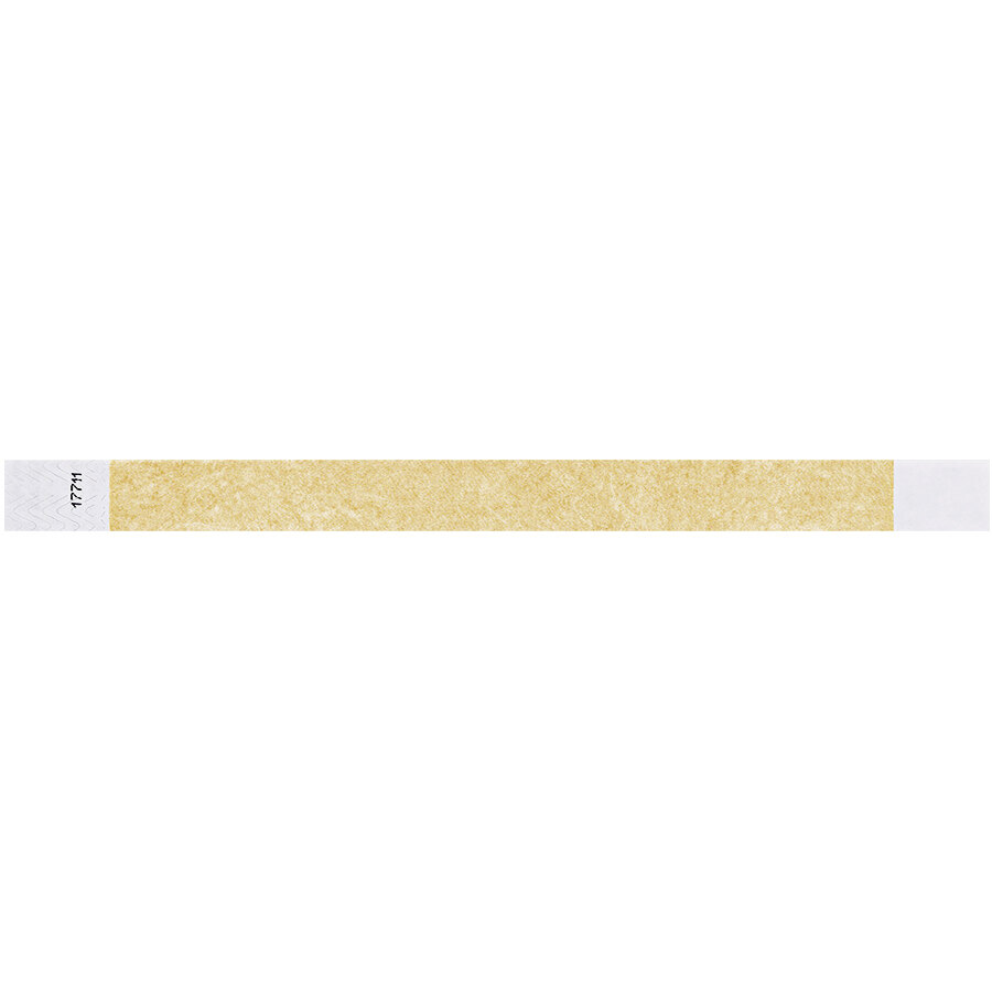 Carnival King Gold Disposable Tyvek® Wristband 3/4 inch x 10 inch - 500/Bag