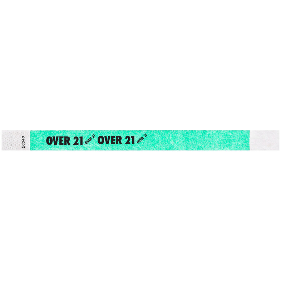 Carnival King Aqua OVER 21 inch Disposable Tyvek® Wristband 3/4 inch x 10 inch - 500/Bag