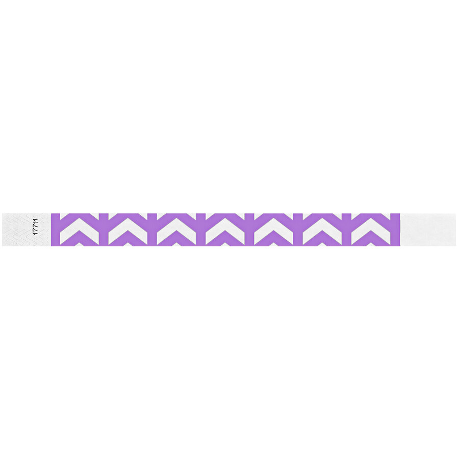 Carnival King Light Purple Arrows Up Disposable Tyvek® Wristband 3/4 inch x 10 inch - 500/Bag