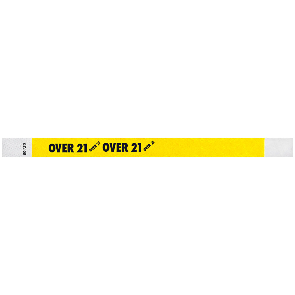 Carnival King Neon Yellow OVER 21 inch Disposable Tyvek® Wristband 3/4 inch x 10 inch - 500/Bag
