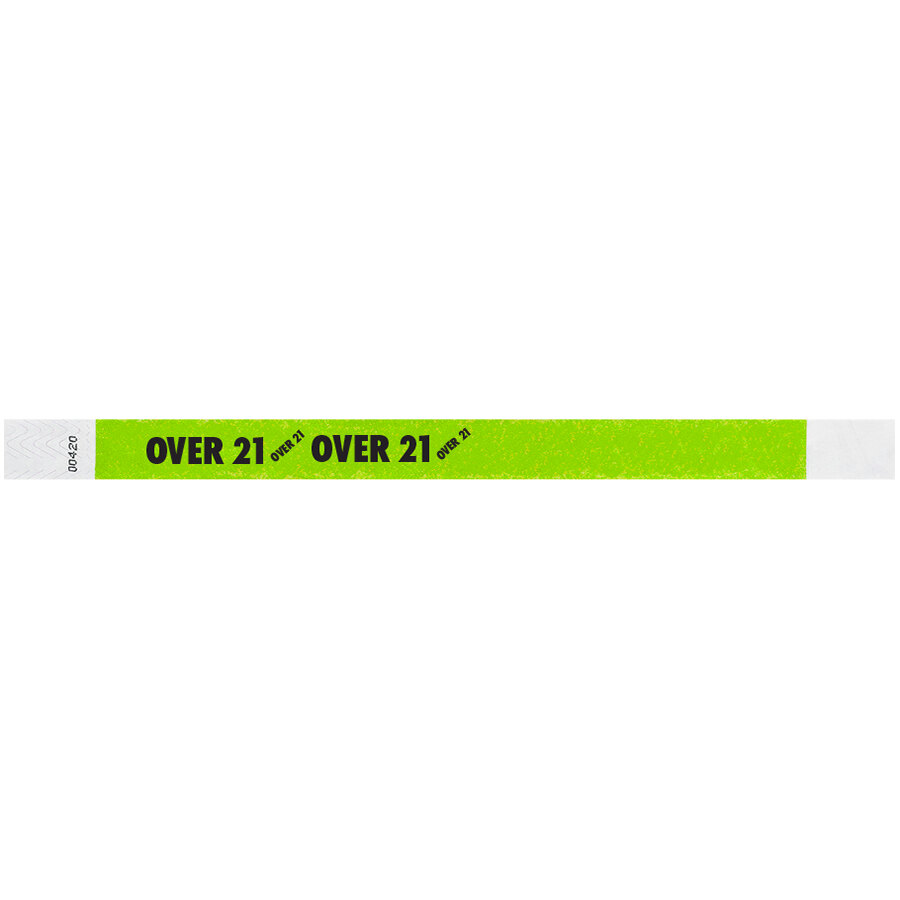 Carnival King Lemon Lime OVER 21 inch Disposable Tyvek® Wristband 3/4 inch x 10 inch - 500/Bag