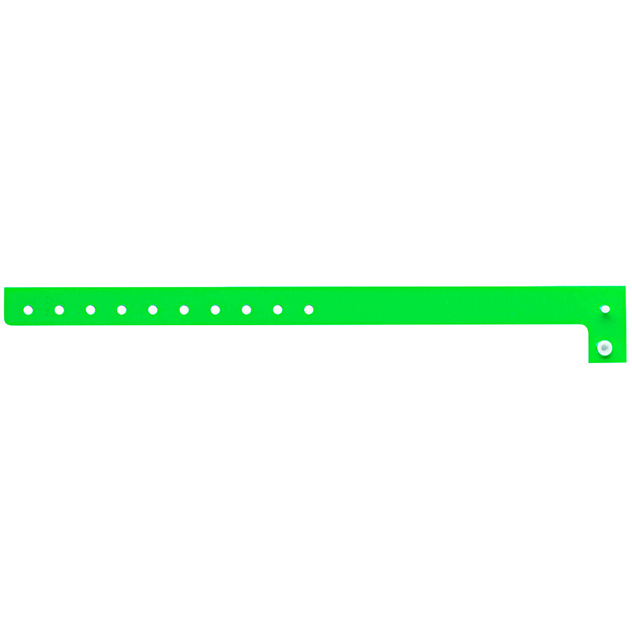 Carnival King Neon Green Disposable Plastic Wristband 5/8 inch x 10 inch - 500/Box