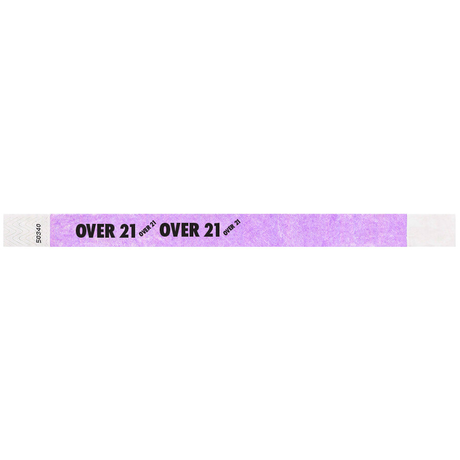 Carnival King Light Purple OVER 21 inch Disposable Tyvek® Wristband 3/4 inch x 10 inch - 500/Bag