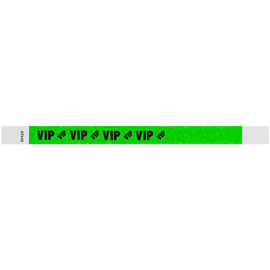 Carnival King Neon Green VIP Disposable Tyvek® Wristband 3/4 inch x 10 inch - 500/Bag