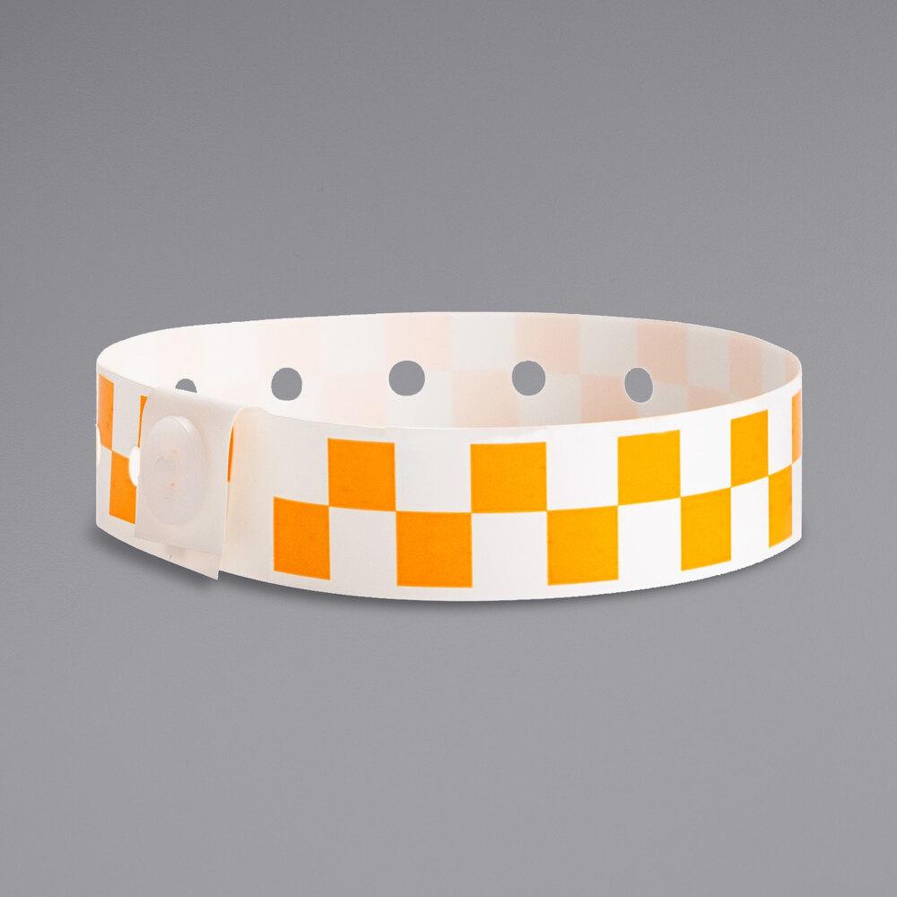 Carnival King Orange Checkerboard Disposable Plastic Wristband 5/8 inch x 10 inch - 500/Box