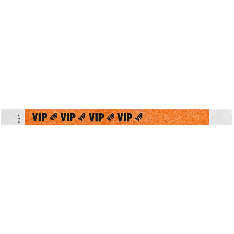 Carnival King Neon Orange VIP Disposable Tyvek® Wristband 3/4 inch x 10 inch - 500/Bag