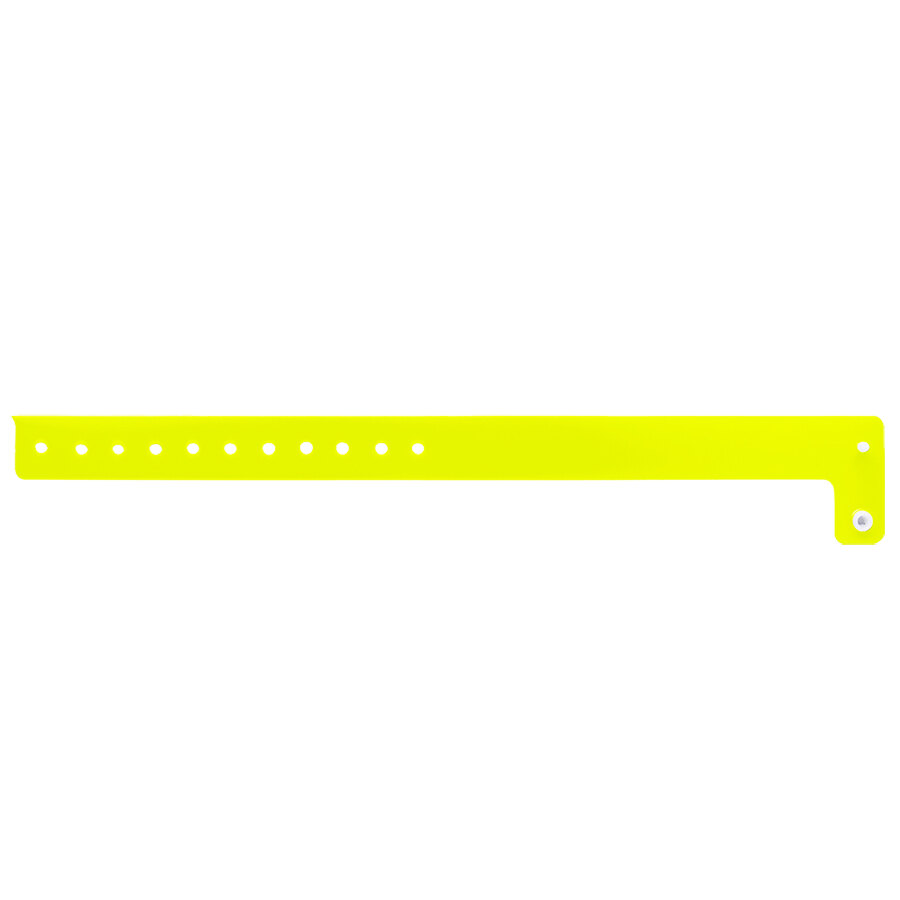 Carnival King Neon Yellow Disposable Vinyl Wristband 3/4 inch x 10 inch - 500/Box