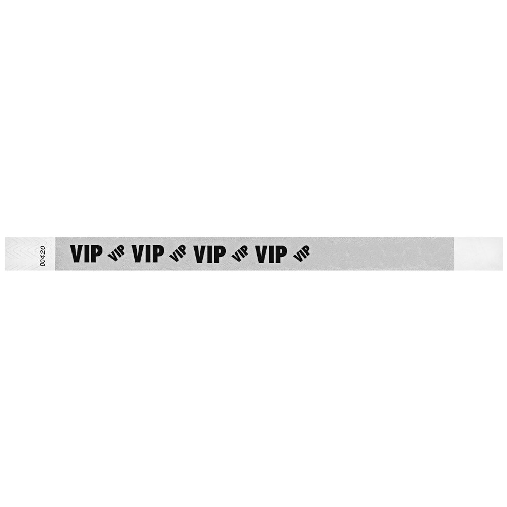 Carnival King Silver VIP Disposable Tyvek® Wristband 3/4 inch x 10 inch - 500/Bag