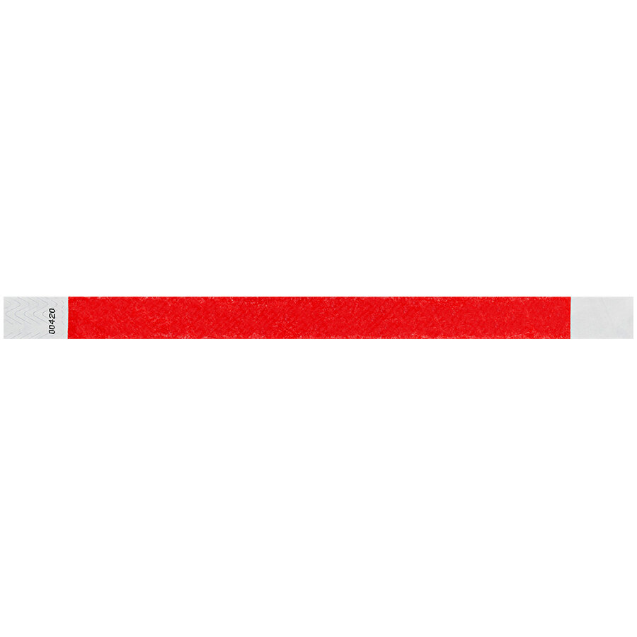 Carnival King Tomato Red Disposable Tyvek® Wristband 3/4 inch x 10 inch - 500/Bag