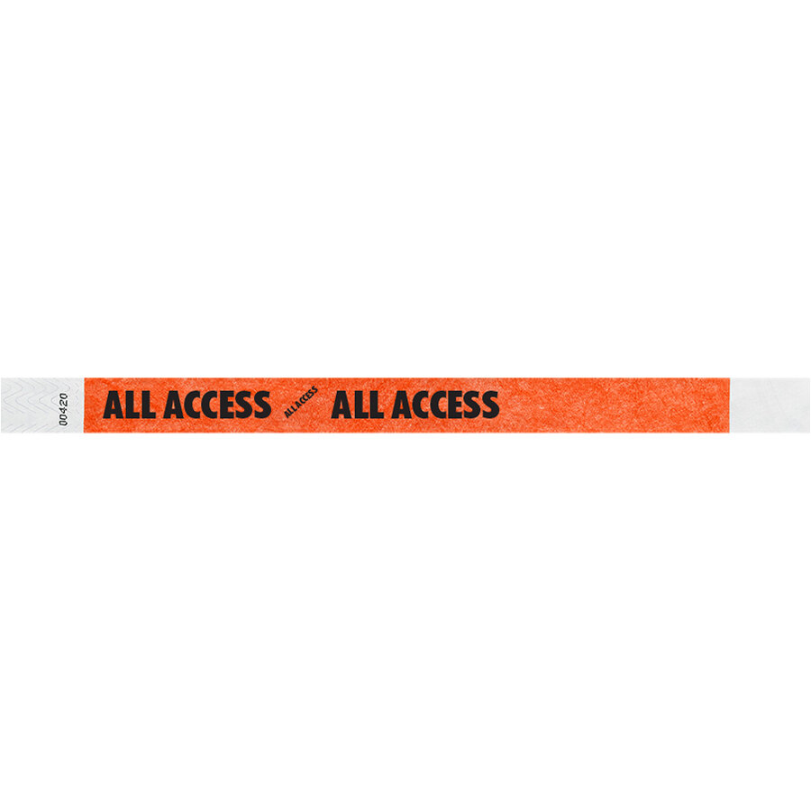 Carnival King Neon Red ALL ACCESS Disposable Tyvek® Wristband 3/4 inch x 10 inch - 500/Bag