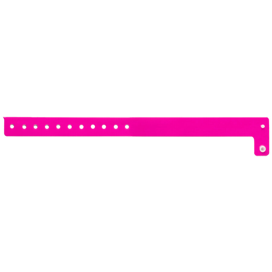 Carnival King Neon Pink Disposable Vinyl Wristband 3/4 inch x 10 inch - 500/Box