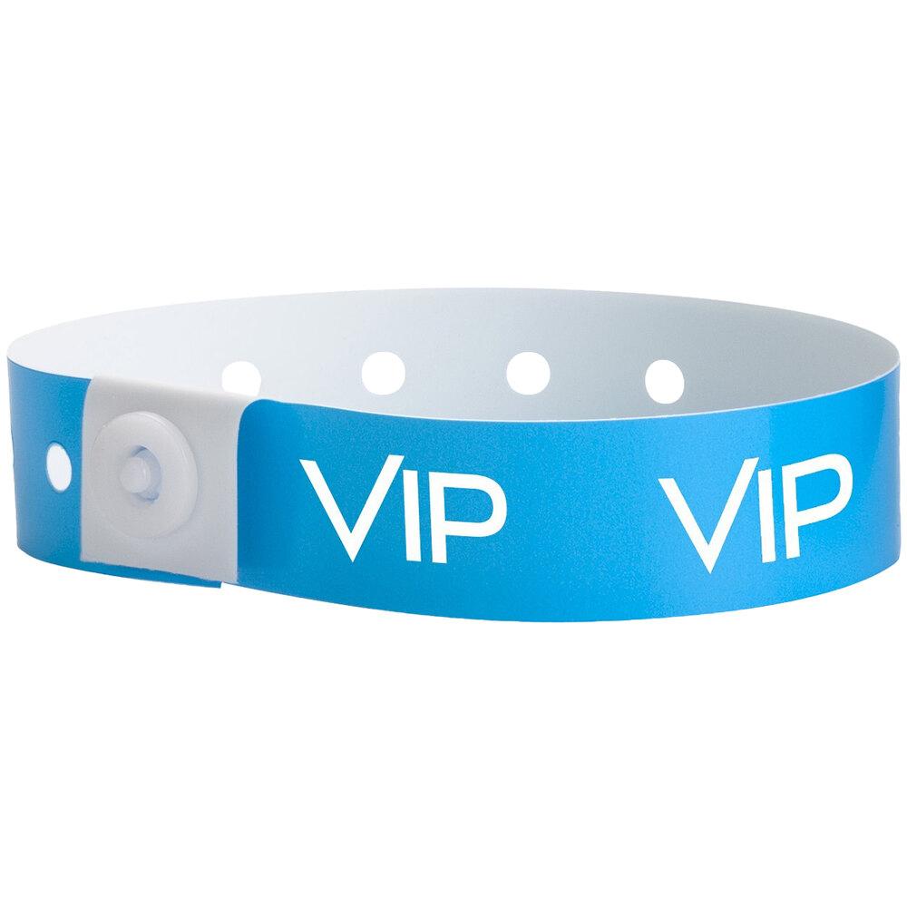 Carnival King Neon Blue VIP Disposable Plastic Wristband 5/8 inch x 10 inch - 500/Box