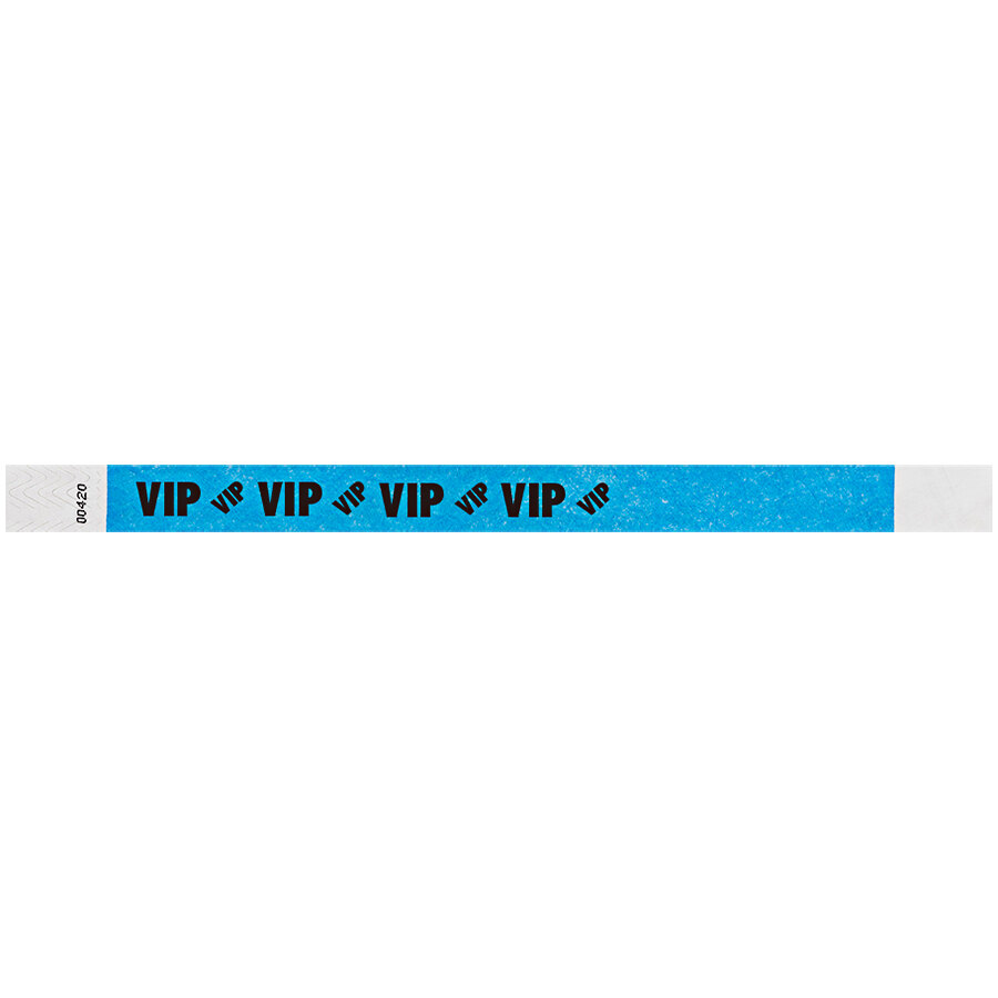 Carnival King Neon Blue VIP Disposable Tyvek® Wristband 3/4 inch x 10 inch - 500/Bag