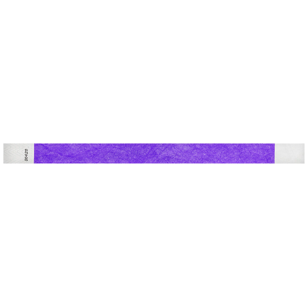 Carnival King Neon Purple Disposable Tyvek® Wristband 3/4 inch x 10 inch - 500/Bag