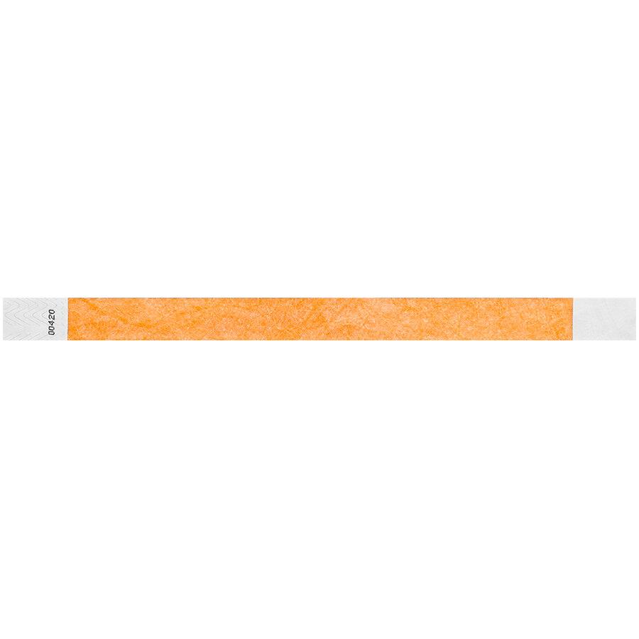 Carnival King Neon Orange Disposable Tyvek® Wristband 3/4 inch x 10 inch - 500/Bag