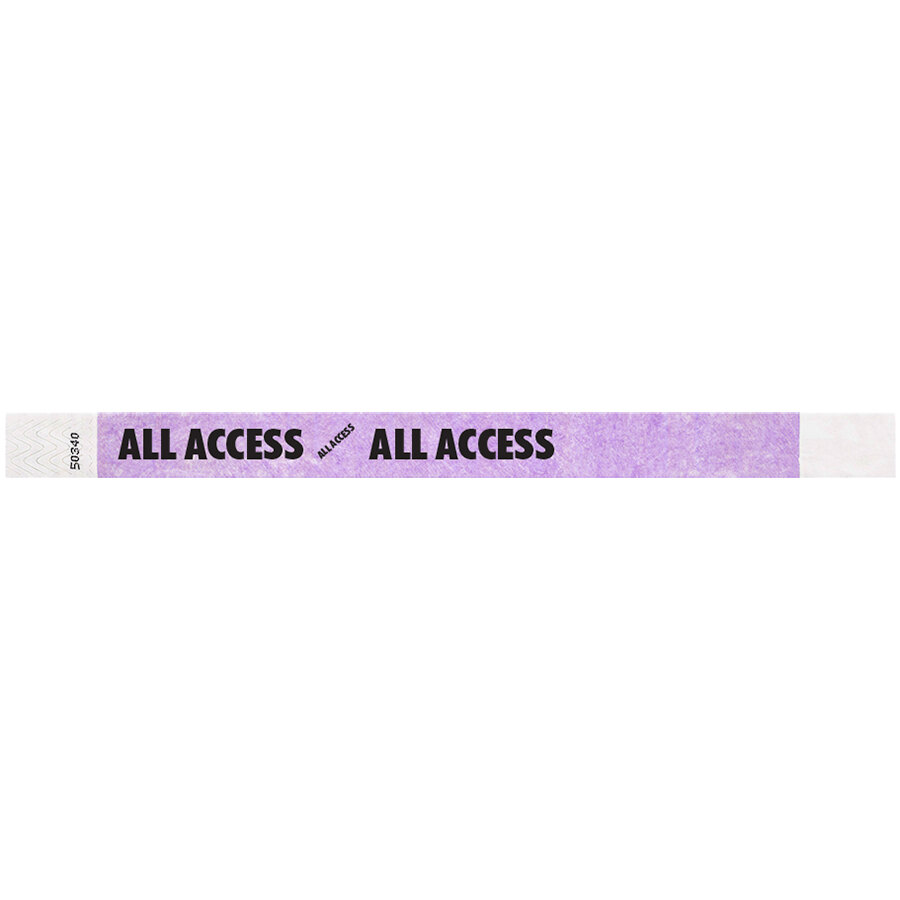 Carnival King Light Purple ALL ACCESS Disposable Tyvek® Wristband 3/4 inch x 10 inch - 500/Bag