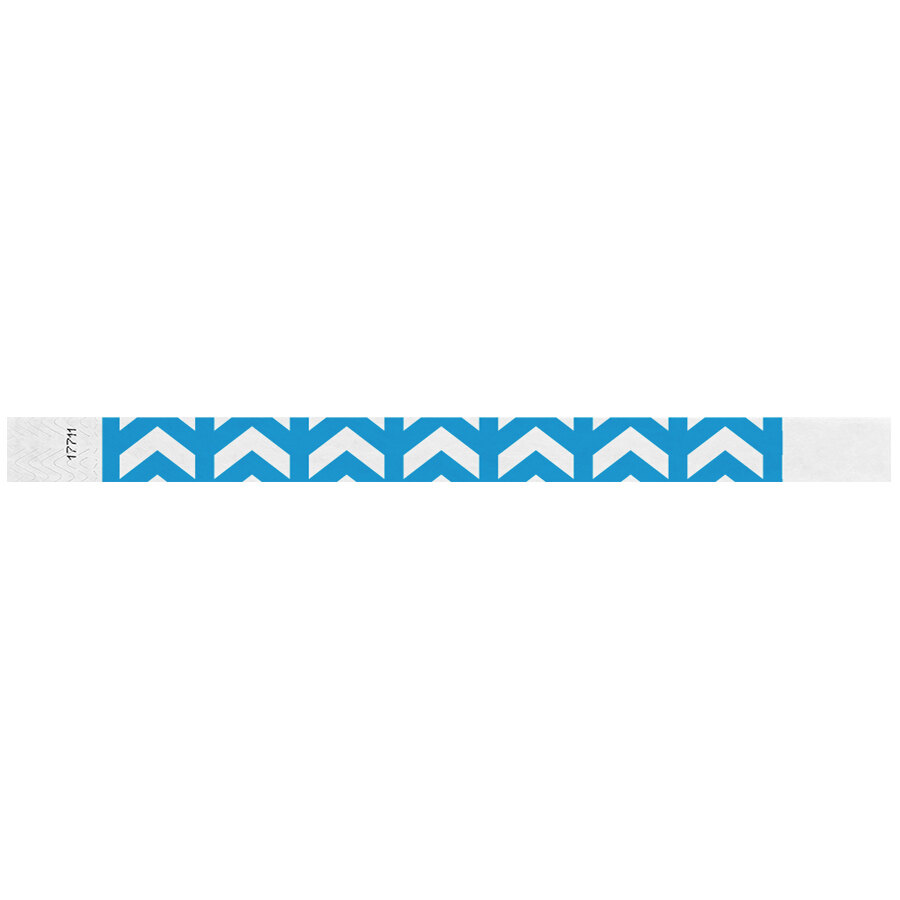 Carnival King Neon Blue Arrows Up Disposable Tyvek® Wristband 3/4 inch x 10 inch - 500/Bag