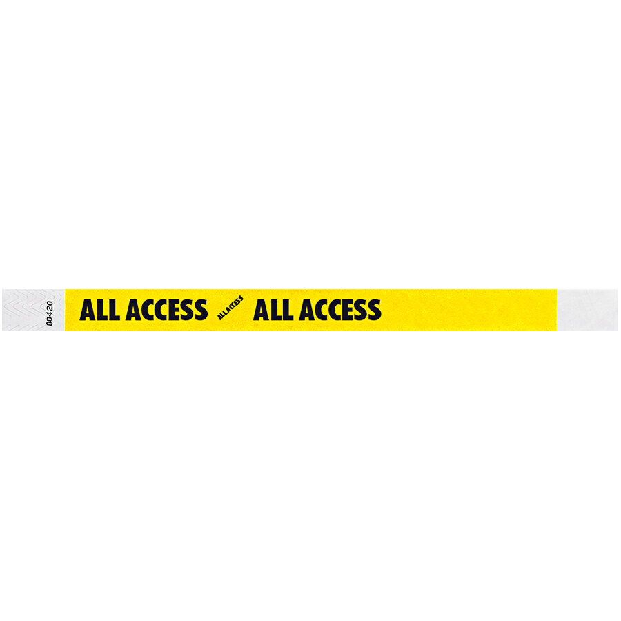 Carnival King Neon Yellow ALL ACCESS Disposable Tyvek® Wristband 3/4 inch x 10 inch - 500/Bag