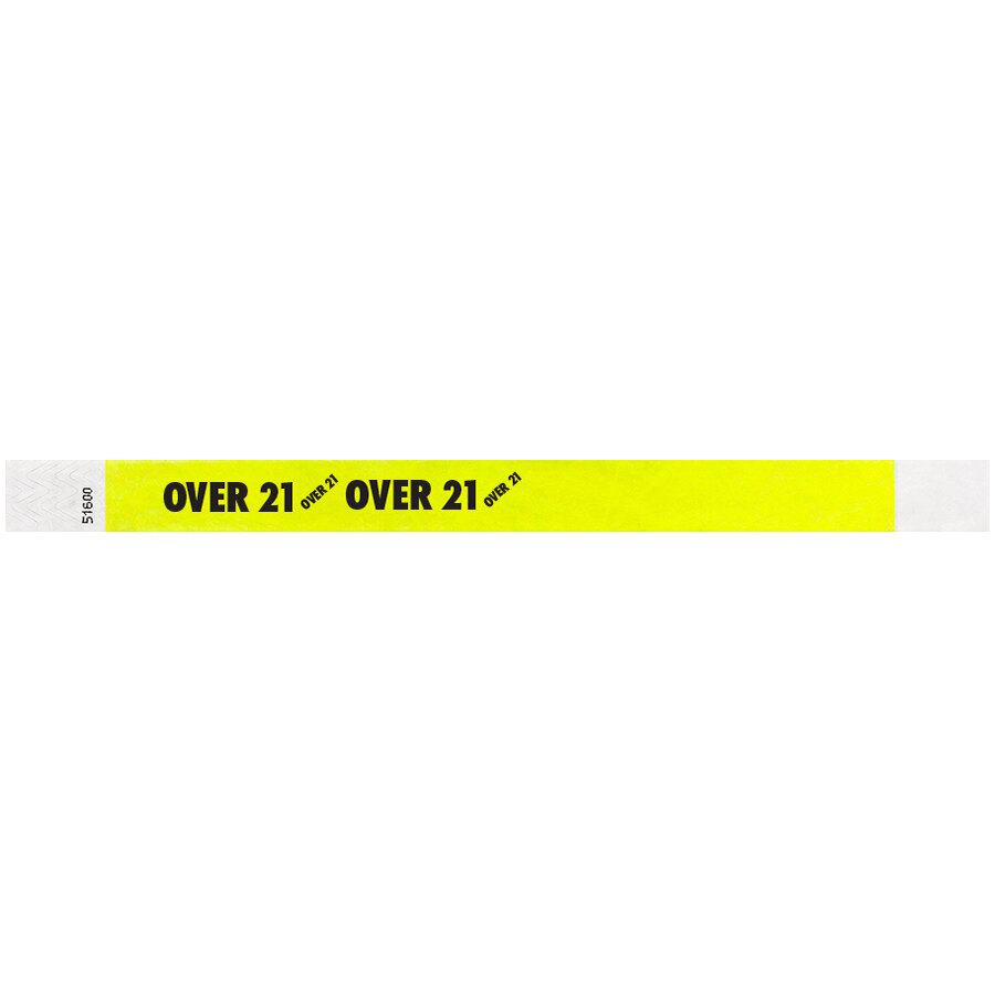 Carnival King Highlighter Yellow OVER 21 inch Disposable Tyvek® Wristband 3/4 inch x 10 inch - 500/Bag