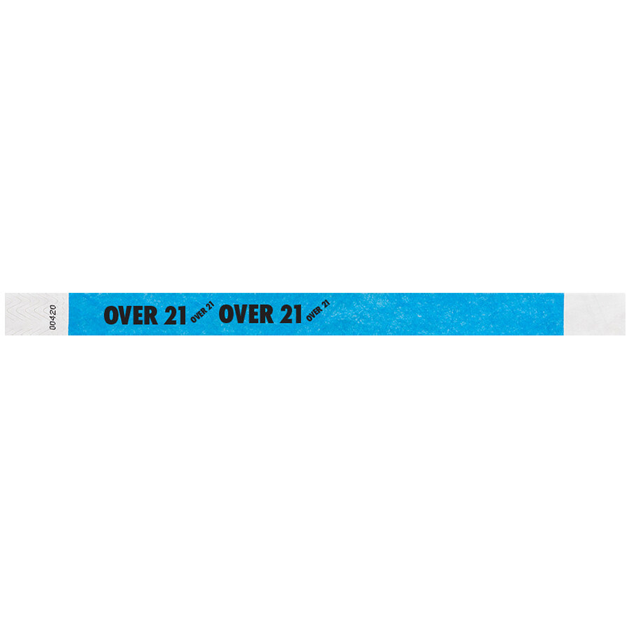 Carnival King Neon Blue OVER 21 inch Disposable Tyvek® Wristband 3/4 inch x 10 inch - 500/Bag