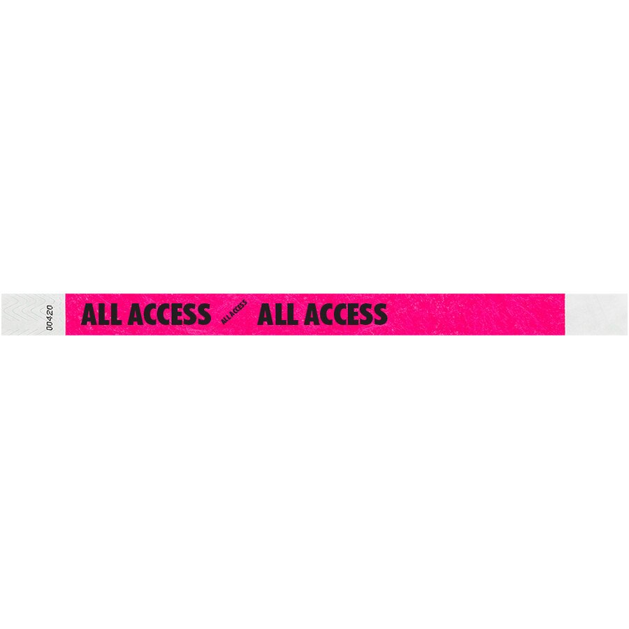 Carnival King Neon Pink ALL ACCESS Disposable Tyvek® Wristband 3/4 inch x 10 inch - 500/Bag
