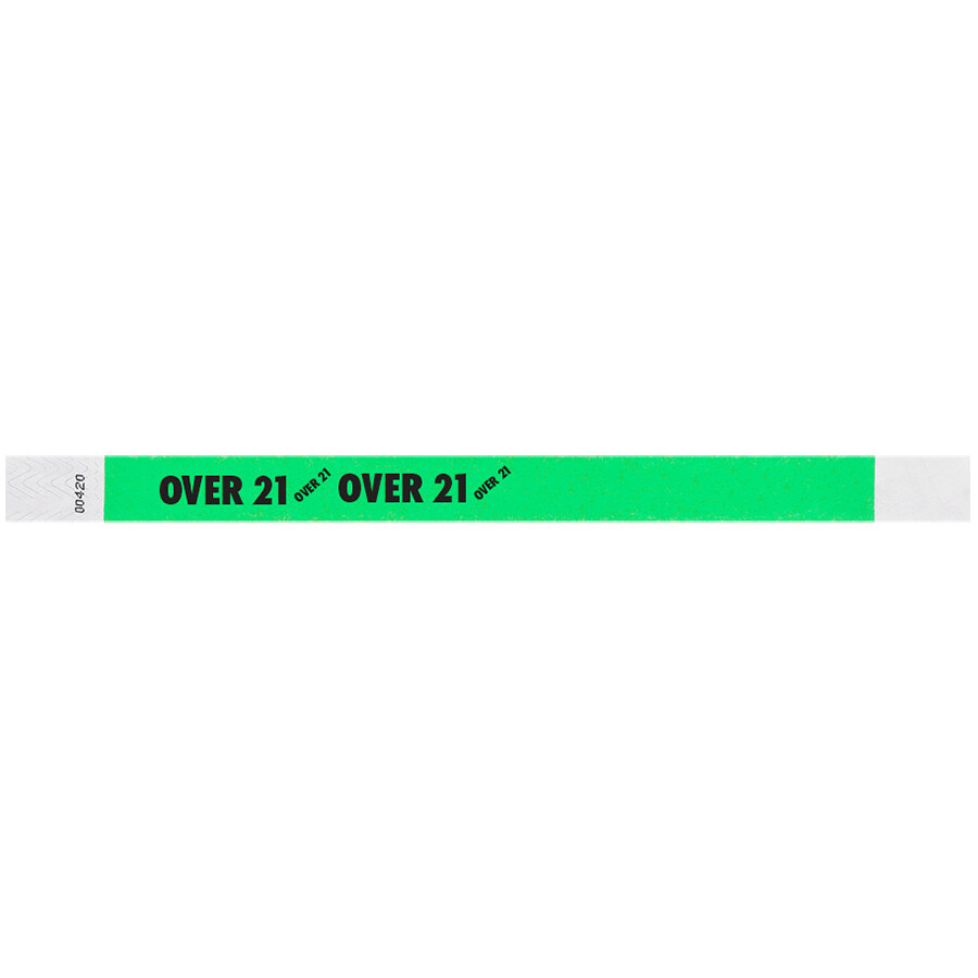 Carnival King Mint Green OVER 21 inch Disposable Tyvek® Wristband 3/4 inch x 10 inch - 500/Bag