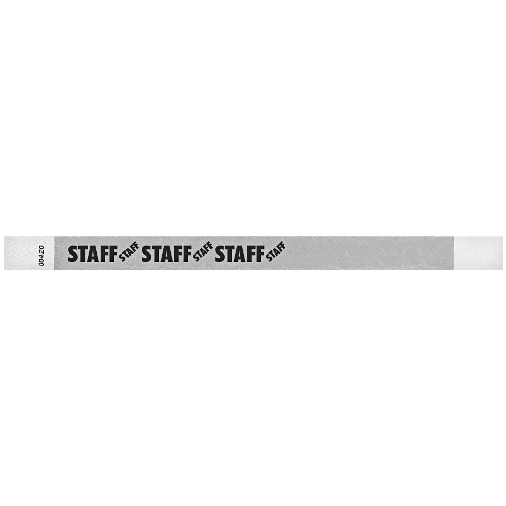 Carnival King Silver STAFF Disposable Tyvek® Wristband 3/4 inch x 10 inch - 500/Bag