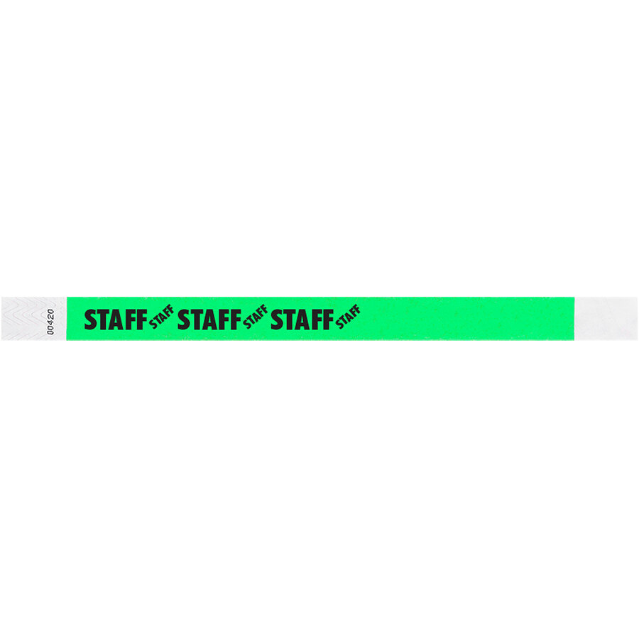 Carnival King Mint Green STAFF Disposable Tyvek® Wristband 3/4 inch x 10 inch - 500/Bag