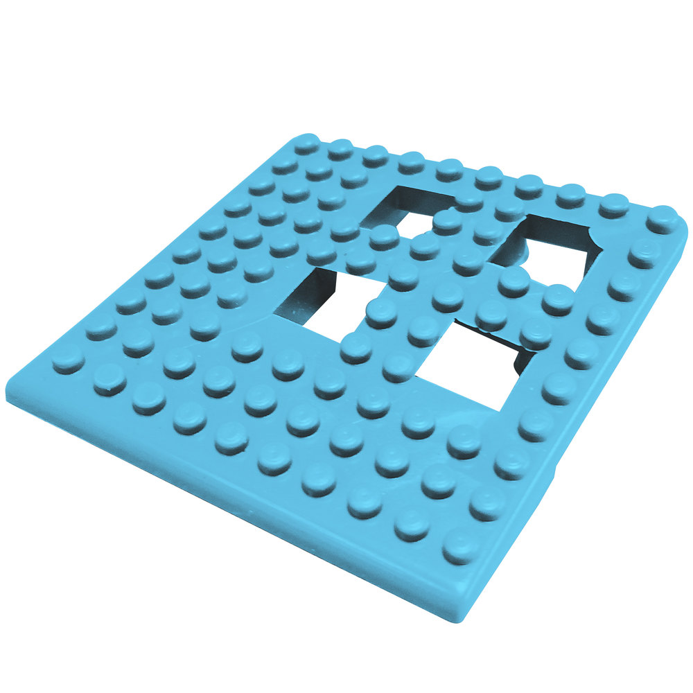 "Cactus Mat 2554-PUC Dri-Dek 2"" x 2"" Pool Blue Vinyl Interlocking Drainage Floor Tile Corner Piece - 9/16"" Thick"