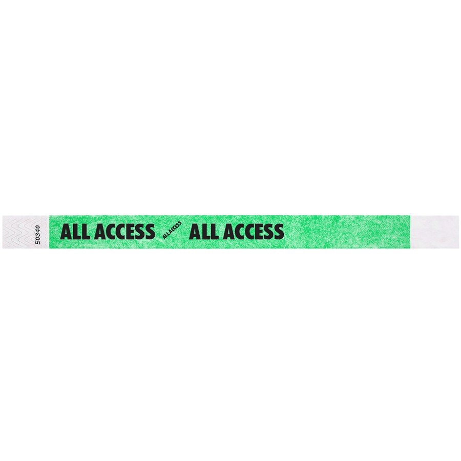 Carnival King Mint Green ALL ACCESS Disposable Tyvek® Wristband 3/4 inch x 10 inch - 500/Bag