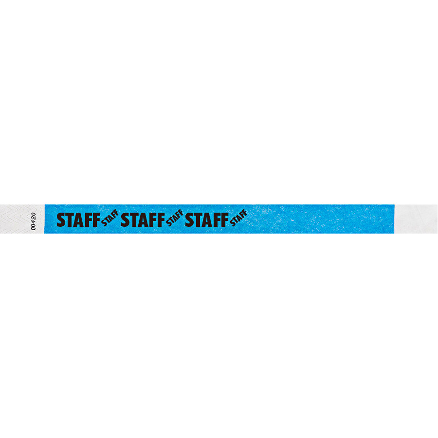 Carnival King Neon Blue STAFF Disposable Tyvek® Wristband 3/4 inch x 10 inch - 500/Bag