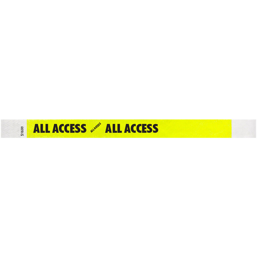 Carnival King Highlighter Yellow ALL ACCESS Disposable Tyvek® Wristband 3/4 inch x 10 inch - 500/Bag