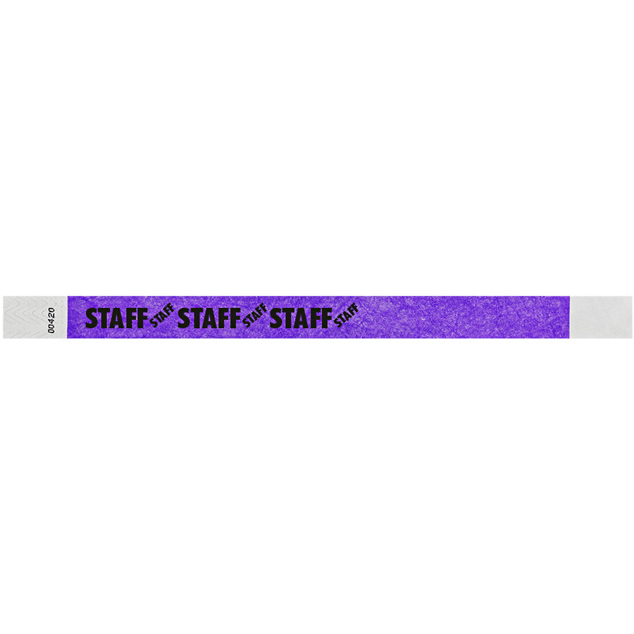 Carnival King Neon Purple STAFF Disposable Tyvek® Wristband 3/4 inch x 10 inch - 500/Bag