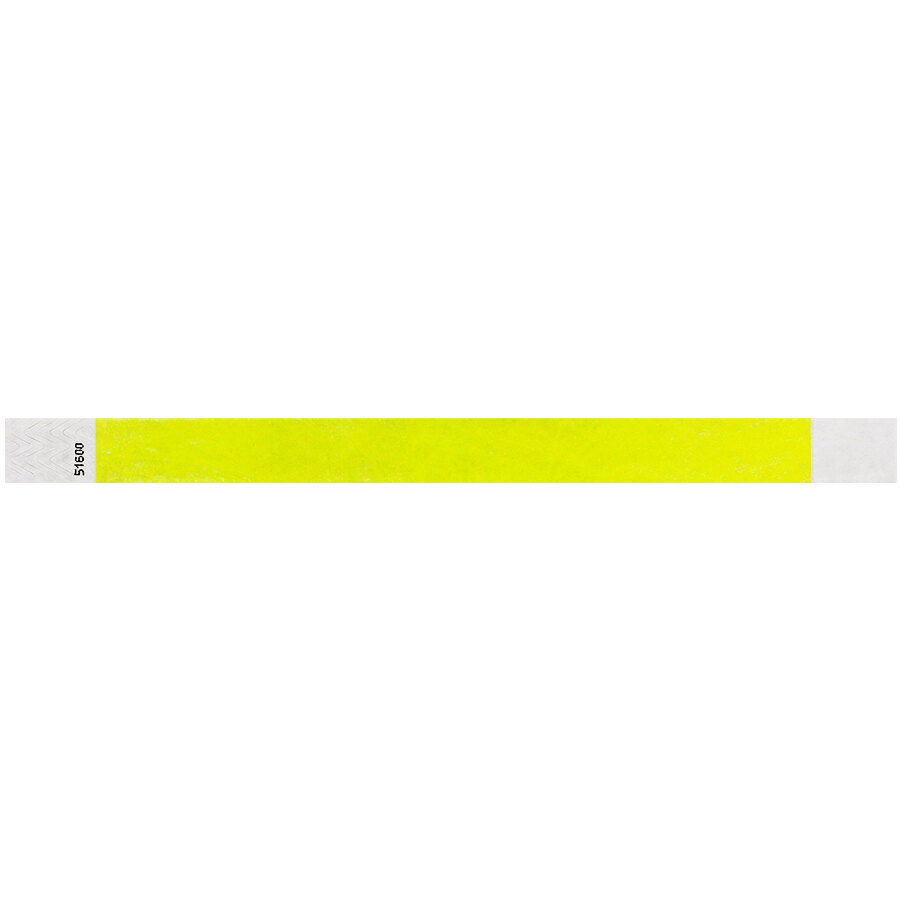 Carnival King Highlighter Yellow Disposable Tyvek® Wristband 3/4 inch x 10 inch - 500/Bag