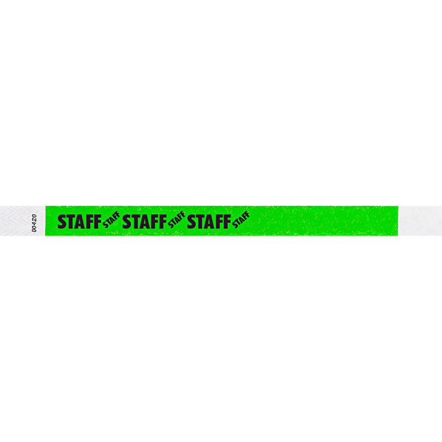 Carnival King Neon Green STAFF Disposable Tyvek® Wristband 3/4 inch x 10 inch - 500/Bag