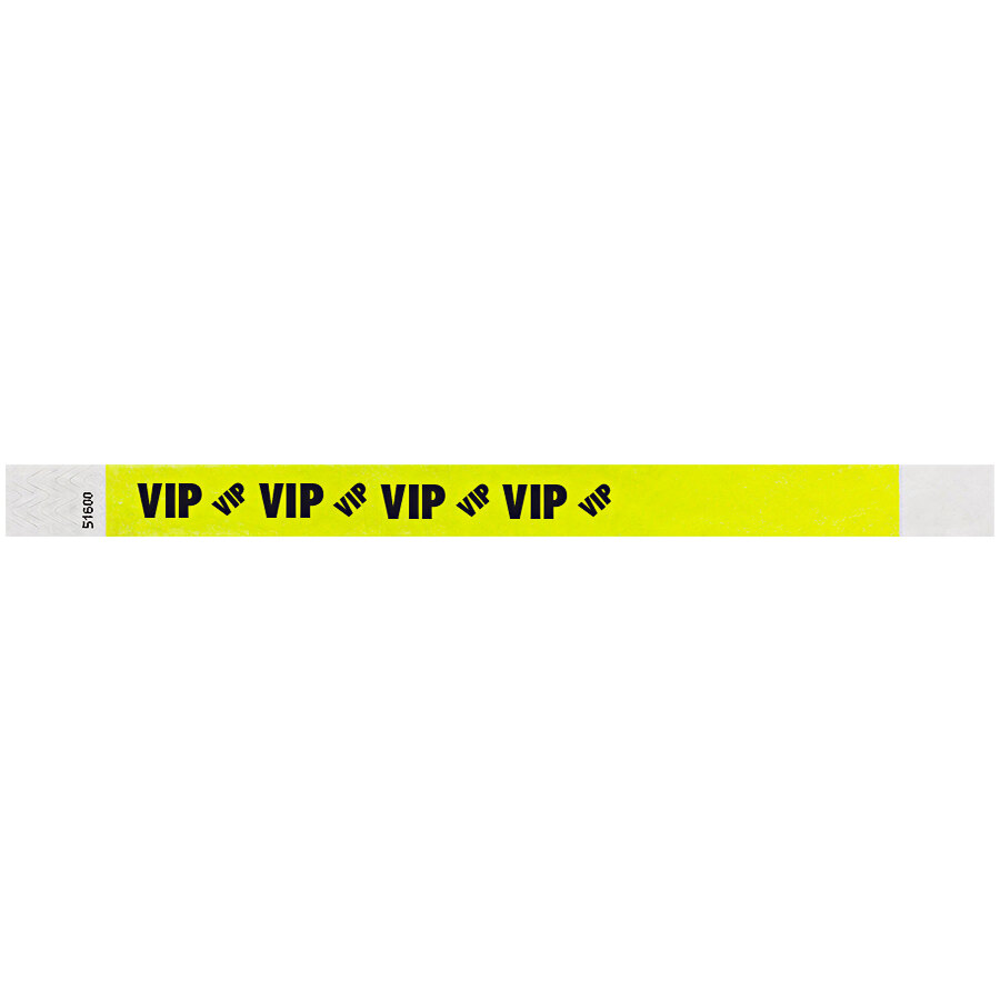 Carnival King Highlighter Yellow VIP Disposable Tyvek® Wristband 3/4 inch x 10 inch - 500/Bag