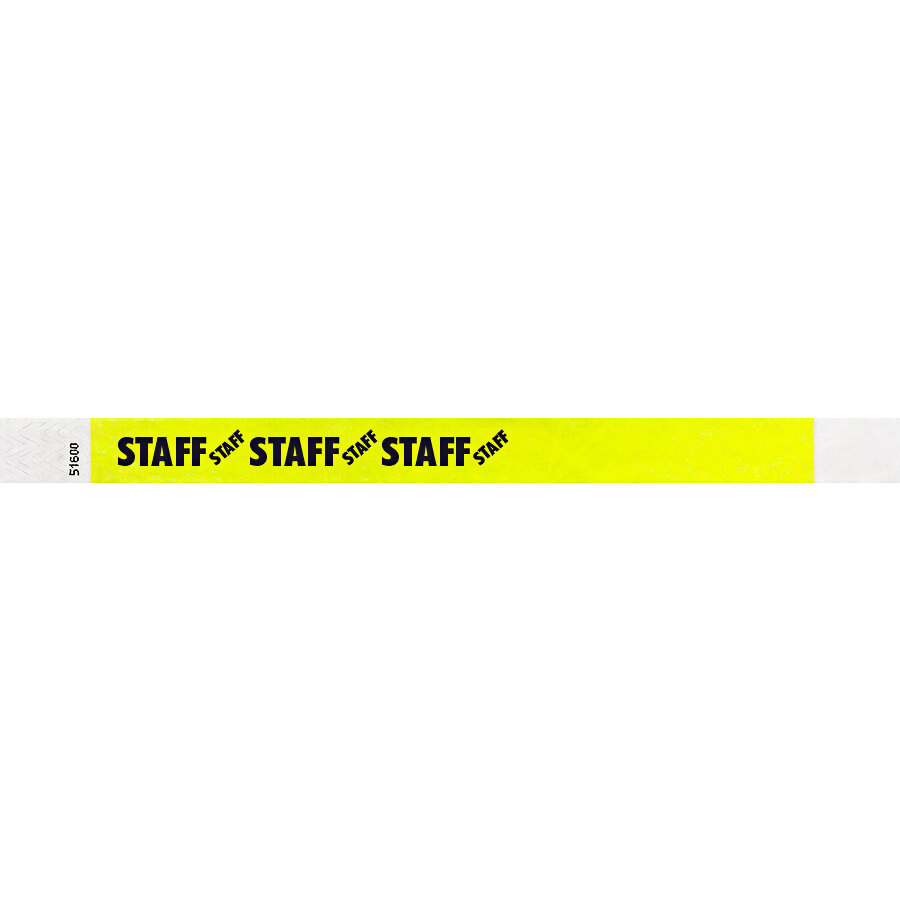 Carnival King Highlighter Yellow STAFF Disposable Tyvek® Wristband 3/4 inch x 10 inch - 500/Bag