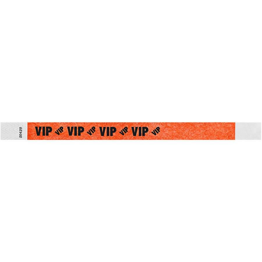 Carnival King Neon Red VIP Disposable Tyvek® Wristband 3/4 inch x 10 inch - 500/Bag