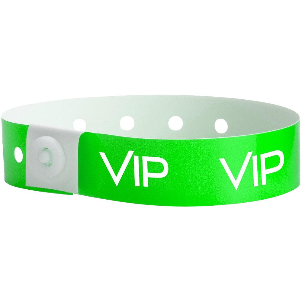 Carnival King Neon Green VIP Disposable Plastic Wristband 5/8 inch x 10 inch - 500/Box