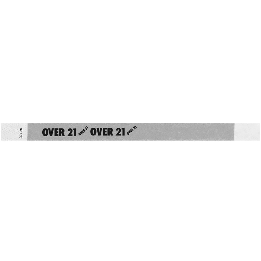 Carnival King Silver OVER 21 inch Disposable Tyvek® Wristband 3/4 inch x 10 inch - 500/Bag