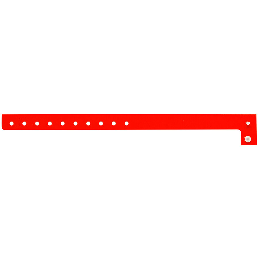 Carnival King Neon Red Disposable Plastic Wristband 5/8 inch x 10 inch - 500/Box