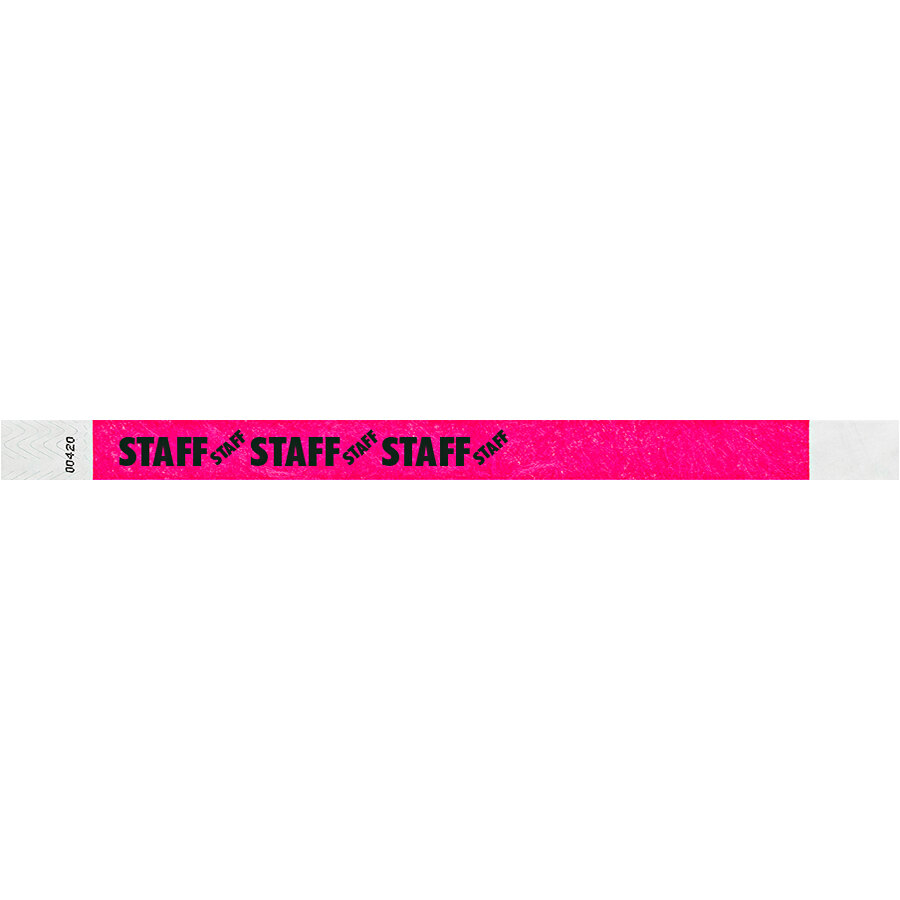 Carnival King Neon Pink STAFF Disposable Tyvek® Wristband 3/4 inch x 10 inch - 500/Bag
