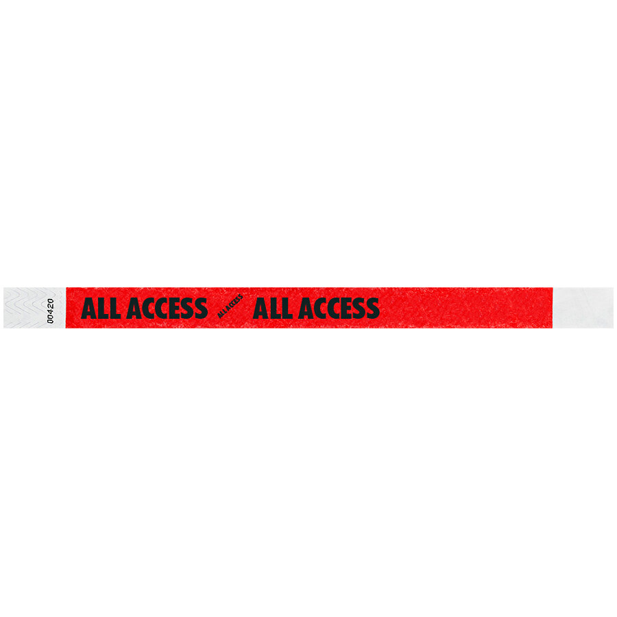 Carnival King Tomato Red ALL ACCESS Disposable Tyvek® Wristband 3/4 inch x 10 inch - 500/Bag